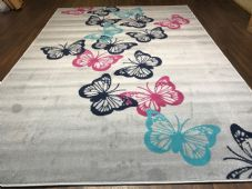 Rugs Approx 8x5ft 160x230cm Woven Backed Butterfly Designs Grey/Pink Bargain